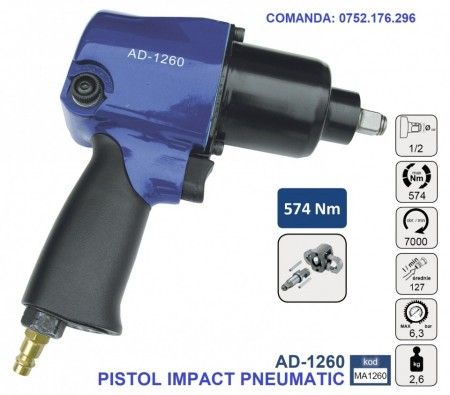 "Pistol Impact pneumatic 574Nm 6.3 bari 1/2"", ADLER AD-1260 Profesional"
