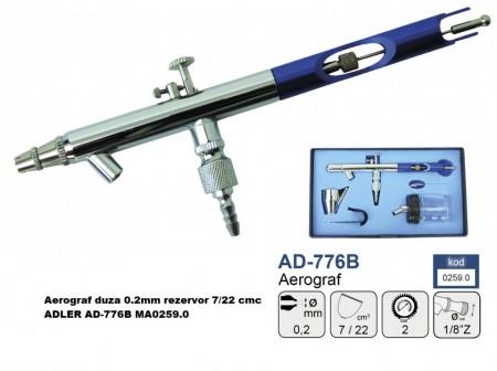 Aerograf duza 0.2mm rezervor 7/22 cmc ADLER AD-776B MA0259.0