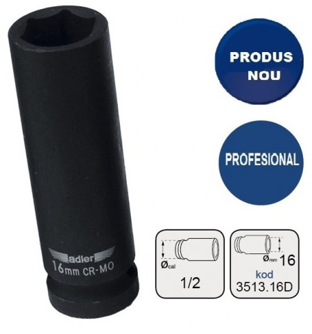 "Cheie tubulara de IMPACT 1/2"" ADLER AD-3513.16D 16mm varianta lunga"