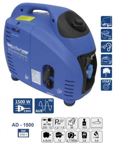 Generator de curent pe benzina tip invertor AD-1500 1.5 kW ADLER MA3700.1