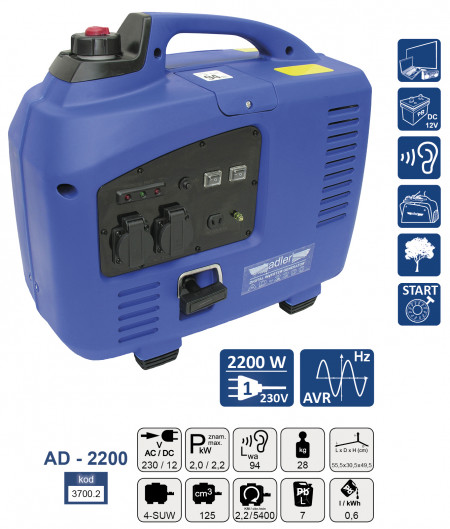 Generator de curent pe benzina tip invertor AD-2200 2.2 kW ADLER MA3700.2