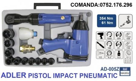 "SET Pistol Impact + cheie pneumatic 354 Nm 6.3 bari 1/2"" ADLER AD-005Z"