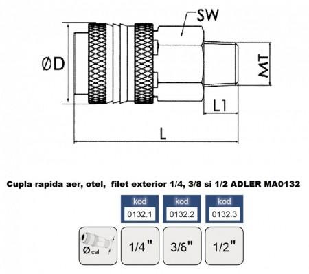 "Cupla rapida aer, otel, filet exterior 1/2"" MA0132.3"