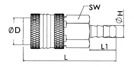 Cupla rapida aer, otel, stiut furtun 8 mm ADLER MA0130.1