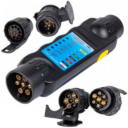 Tester de priza pentru mufa remorcilor cu adaptor 13/7 si 7/13 KD10542 Kraftdele