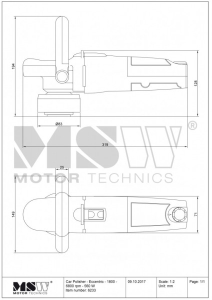 Masina de polisat, lustruit auto 560W 165mm MSW-POL560C MSW Germania