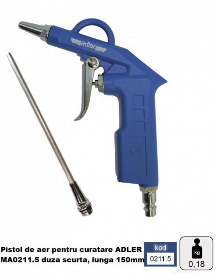 Pistol de aer pentru curatare ADLER MA0211.5 duza scurta, lunga 150mm