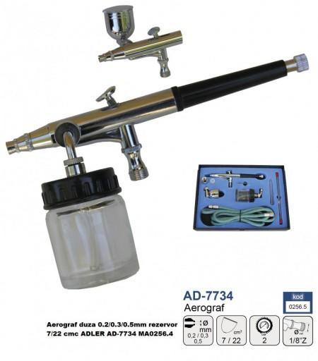 Aerograf duza 0.2/0.3/0.5mm rezervor 7/22 cmc ADLER AD-7734 MA0256.5