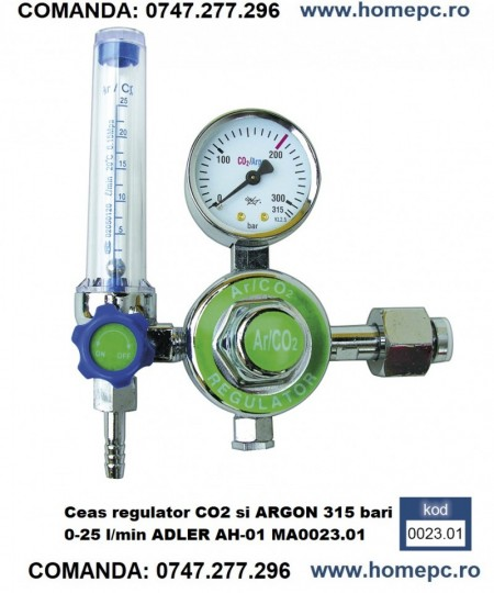 Ceas regulator CO2 si ARGON 315 bari 0-25 l/min ADLER AH-01 MA0023.01