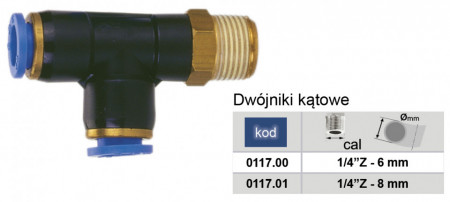 "Conector PD (tip T cu filet) 6mm 1/4"" MA0117.00"