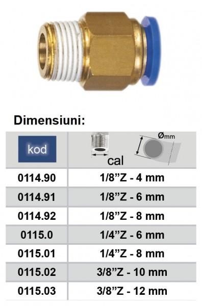 """Cupla rapida cu diametru Ø10 si filet exterior 3/8"""" Push-in ADLER MA0115.02"""