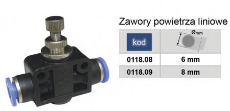 Drosel pneumatic de linie SA CONECTOR PLASTIC CU REGLAJ DEBIT 8mm MA0118.09