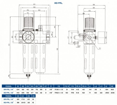 "Reductor cu filtru de apa si ulei pentru aer comprimat ADLER AD-FRL 1/4"" MA3128.1"