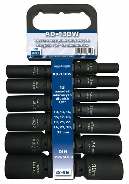 "Set de chei tubulare IMPACT 1/2"", 13 piese ADLER AD-13DW varianta lunga"