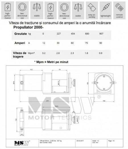 Troliu auto OFF-ROAD 12V 907Kg 2000 lbs PROPULLATOR 2000-A MSW