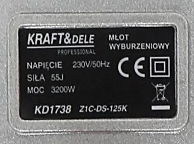 Ciocan demolator picamer 3200W 55J SDS-HEX KraftDele KD1738