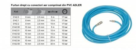 Furtun drept cu conectori aer comprimat din PVC 8mm 5m ADLER AD0142.0