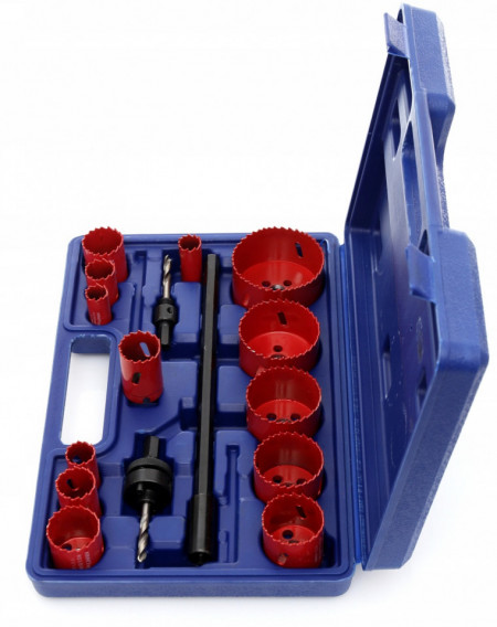 Set carote bi-metal 17 piese, geanta, 19-76mm KraftDele KD10345