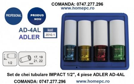 "Set de chei tubulare IMPACT 1/2"", 4 piese ADLER AD-4AL varianta lunga din teflon"