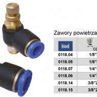 Drosel pneumatic SL CONECTOR PLASTIC TIP L CU REGLAJ DEBIT 1/8'' 8mm MA0118.05