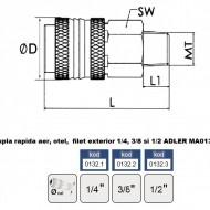 "Cupla rapida aer, otel, filet exterior 3/8"" MA0132.2"