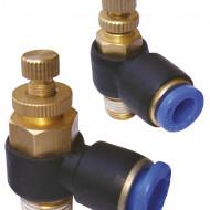 Drosel pneumatic SL CONECTOR PLASTIC TIP L CU REGLAJ DEBIT 3/8'' 12mm MA0118.15