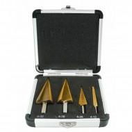 Set burghie metal conice in trepte 4-32 mm 4 bucati titan VERKE V05050