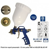 Pistol de vopsit pneumatic 1.5 mm pahar 600 ml ADLER BLUE HP AD-0206.9