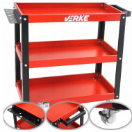 Raft metalic mobil pentru scule atelier 3 rafturi 70x74mm VERKE V33120