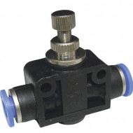 Drosel pneumatic de linie SA CONECTOR PLASTIC CU REGLAJ DEBIT 6mm MA0118.08