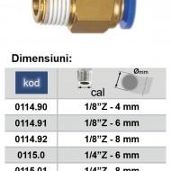 """Cupla rapida cu diametru Ø8 si filet exterior 1/4"""" Push-in ADLER MA0115.01"""