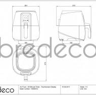 Friteuză cu aer cald 60 Timer Ecran tactil BCHF 2.5B Bredeco Germania