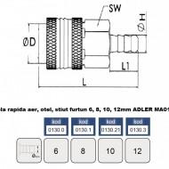 Cupla rapida aer, otel, stiut furtun 10 mm ADLER MA0130.2