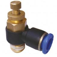 Drosel pneumatic SL CONECTOR PLASTIC TIP L CU REGLAJ DEBIT 1/8'' 6mm MA0118.04