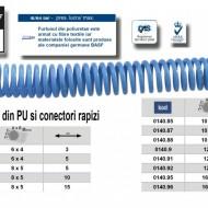 Furtun spiralat conectori aer comprimat din PU 6 x 4mm; 5m; 11-32 bari. ADLER AD0140.71