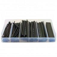 Set 100 tuburi termocontractabil 6 dimensiuni - negre KD10919 Kraftdele