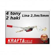 Troliu manual 4 tone cablu - winch KraftDele KD1119