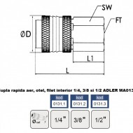 "Cupla rapida aer, otel, filet interior 1/4"" ADLER MA0131.1"