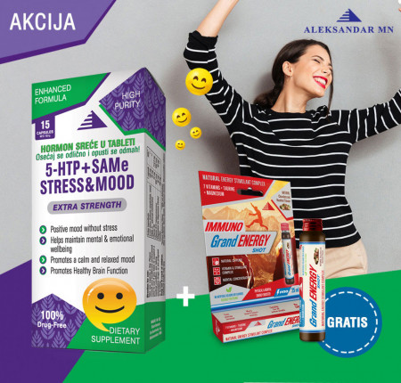 5 HTP + SAMe STRESS & MOOD serotonin tablete + Grand energy shot GRATIS