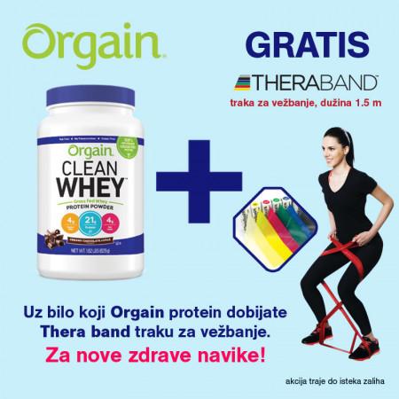 Orgain Whey protein u prahu, 828 g + poklon Thera band traka