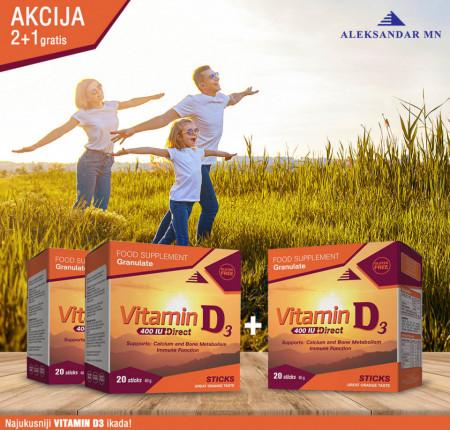 2 + 1 GRATIS Vitamin D3 400 IU DIRECT