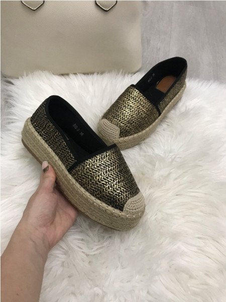 Pantofi espadrile dama negri cu auriu S73