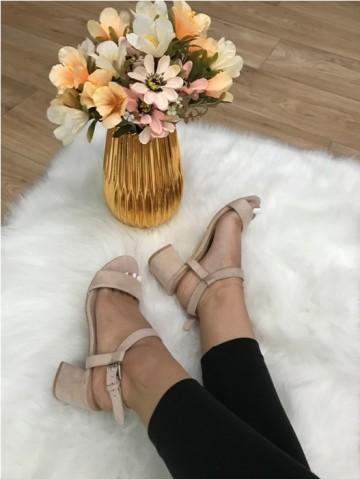 Sandale dama bej nude cu toc mic