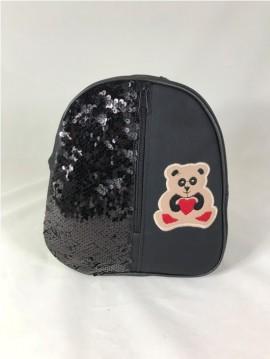 Rucsac negru cu paiete si ursulet