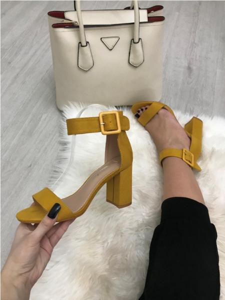 Sandale dama galbene cu toc S112