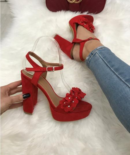 Sandale dama rosii cu toc S265