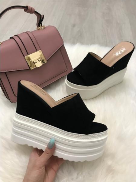 Papuci dama negri cu platforma S8