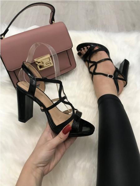 Sandale dama negre cu toc S248