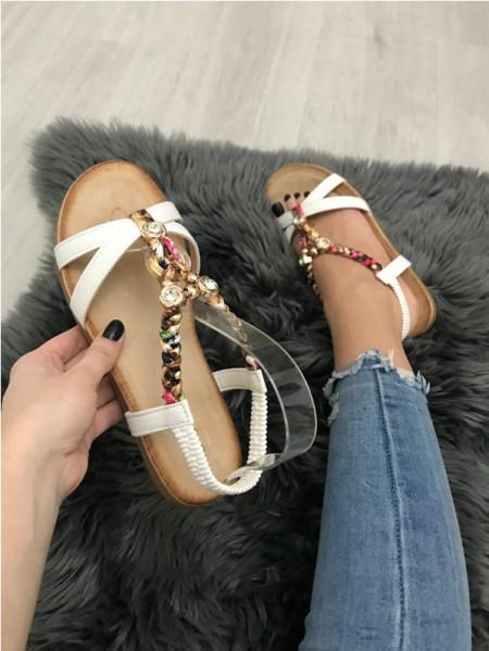 Sandale dama albe fara toc S101