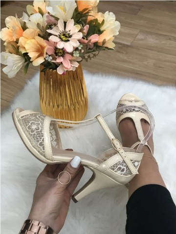 Sandale dama bej cu toc mic
